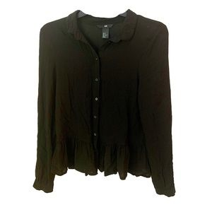 H&M Black Long Sleeve Peplum Button Up Blouse